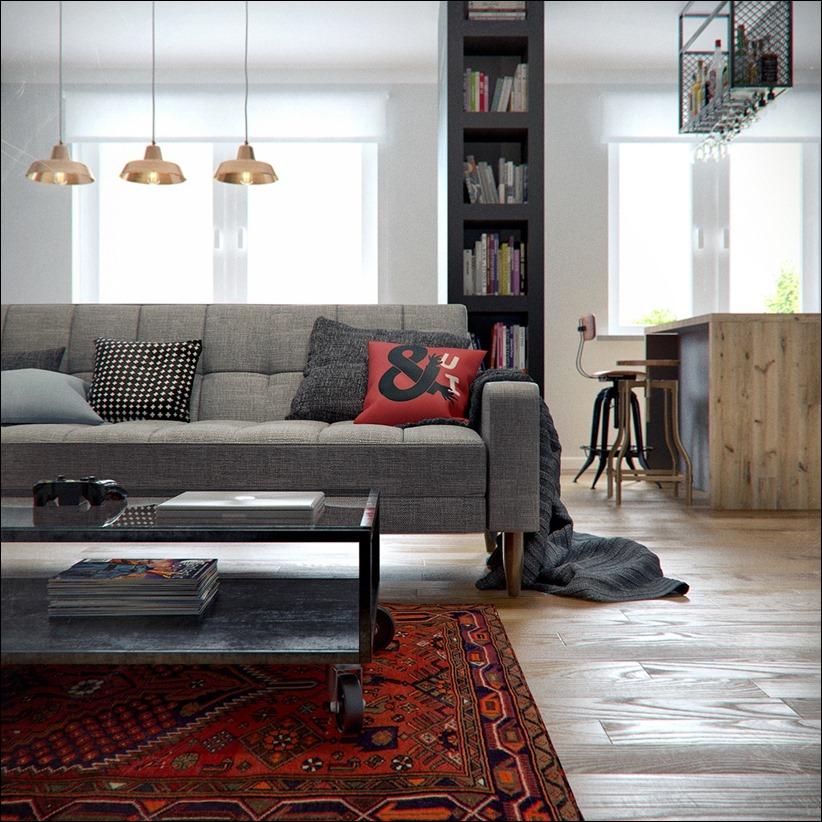 2502 dizayn interera 11 Эклектика квартиры с открытой планировкой