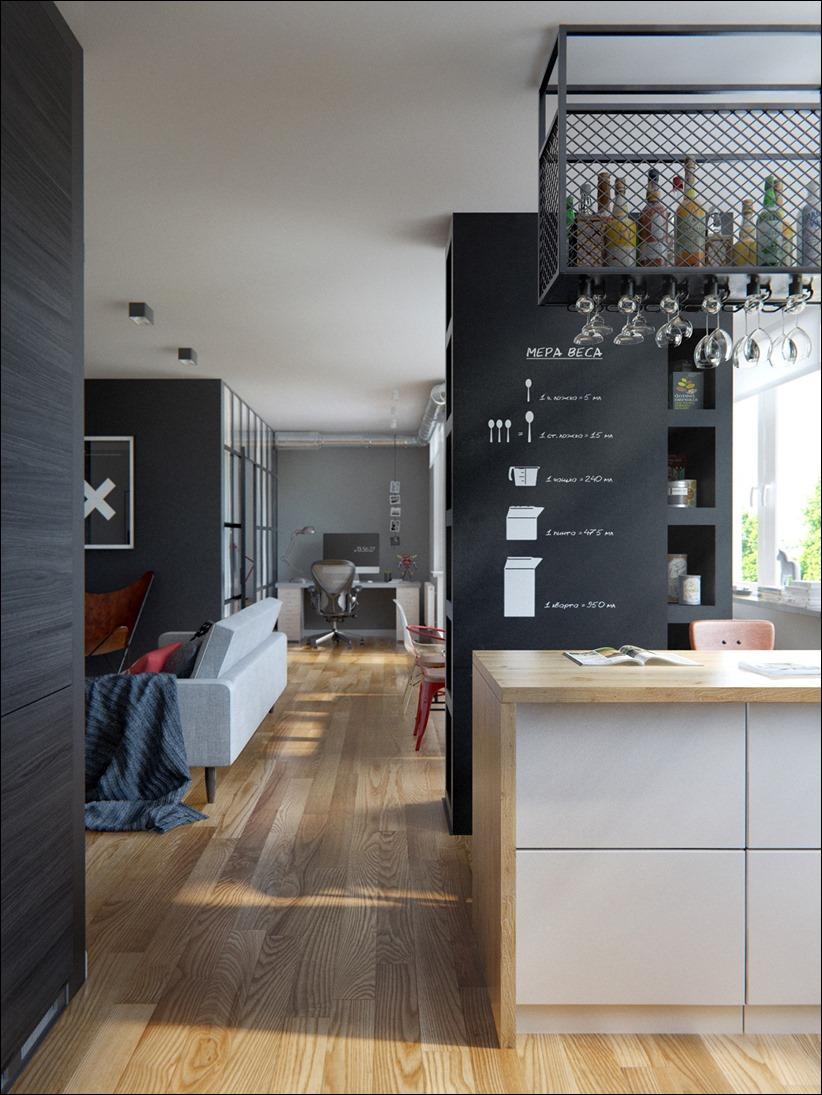 2502 dizayn interera 12 Эклектика квартиры с открытой планировкой