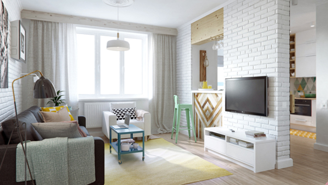 45 square meter apartment hqdesign kz 1 Интерьер квартиры площадью 45 кв.м. типовой планировки