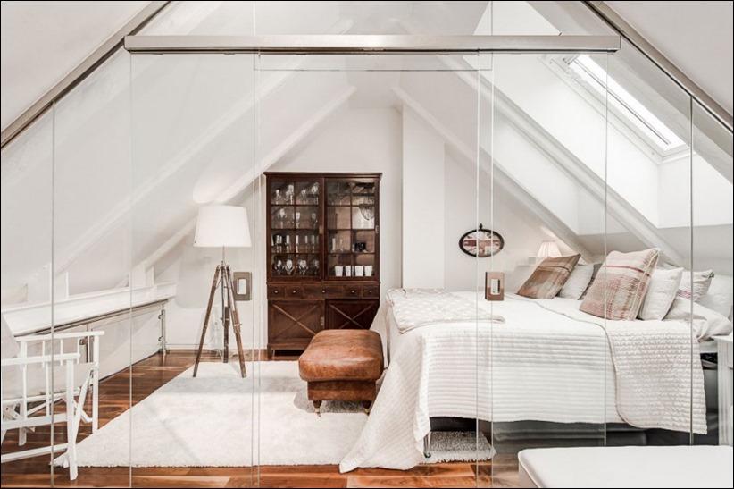 2793 dizayn interera 11 Эффектный Attic Duplex со стеклянным полом в Стокгольме
