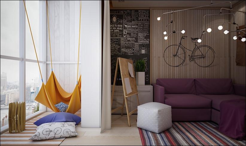 2882 dizayn interera 25 Красочные детские комнаты с игривым стилем
