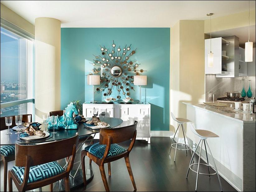 2902 dizayn interera 02 Как использовать разнообразные оттенки синего в столовой