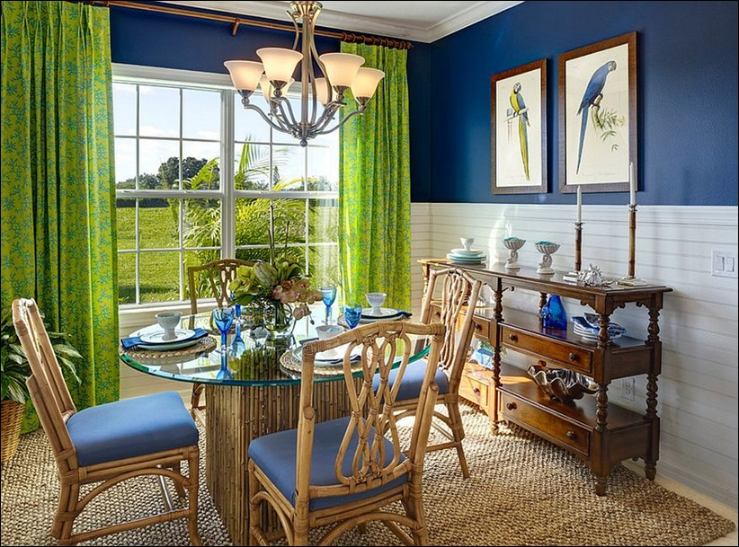 2902 dizayn interera 04 Как использовать разнообразные оттенки синего в столовой