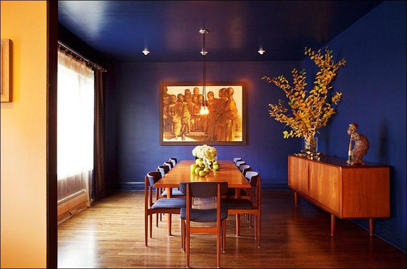 2902 dizayn interera 05 Как использовать разнообразные оттенки синего в столовой