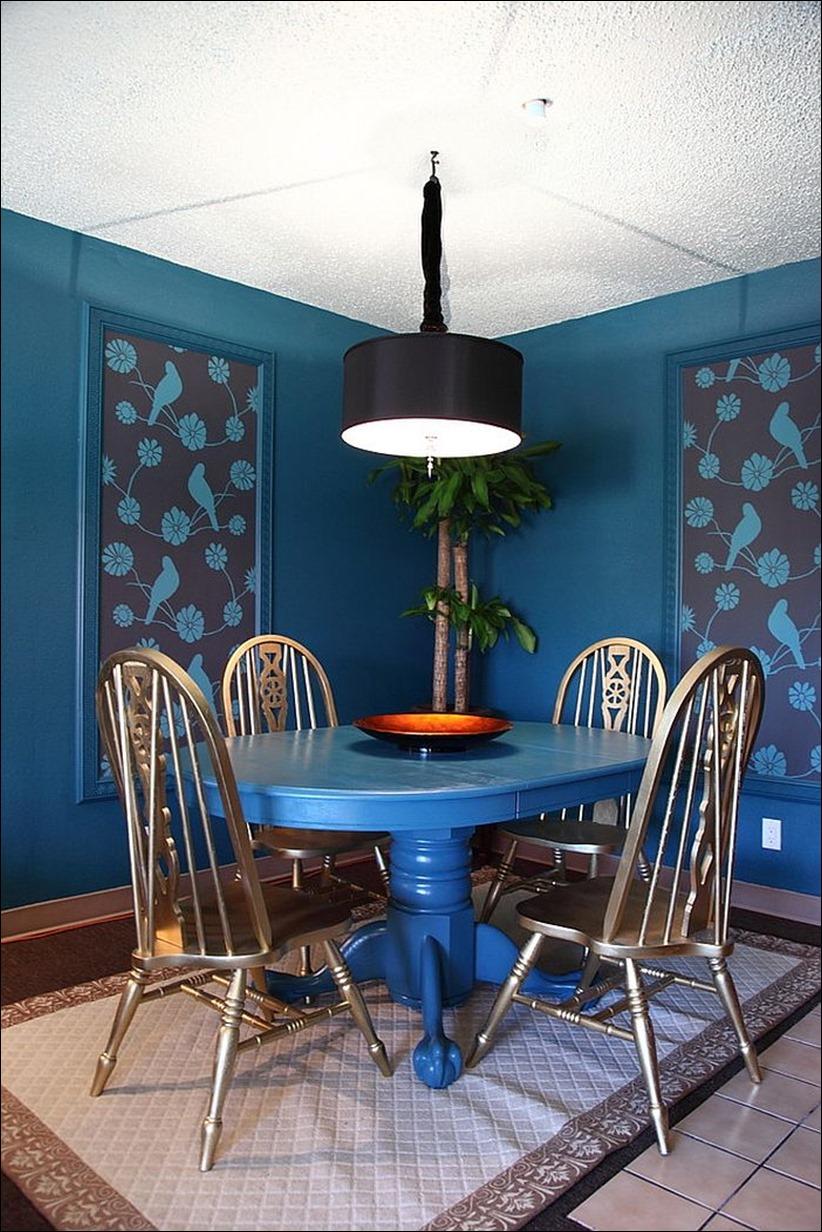 2902 dizayn interera 06 Как использовать разнообразные оттенки синего в столовой