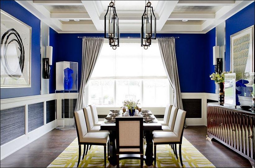 2902 dizayn interera 07 Как использовать разнообразные оттенки синего в столовой