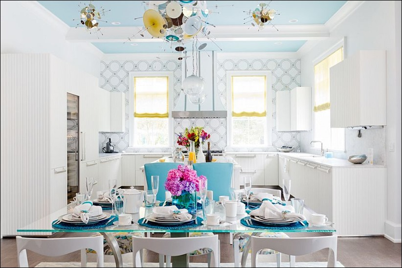 2902 dizayn interera 10 Как использовать разнообразные оттенки синего в столовой