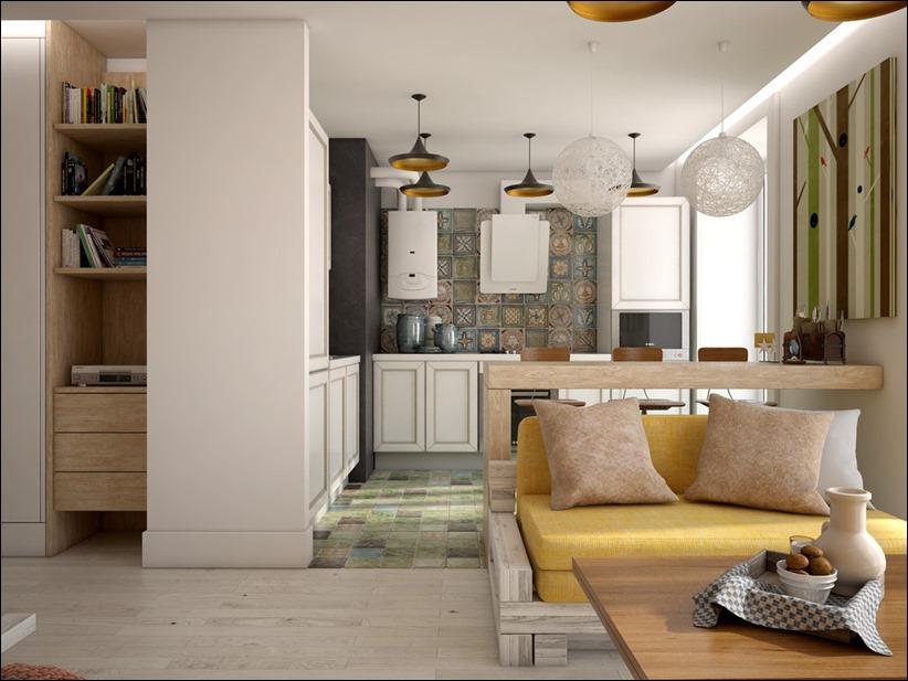 2905 dizayn interera 09 Дизайн открытой квартиры студии